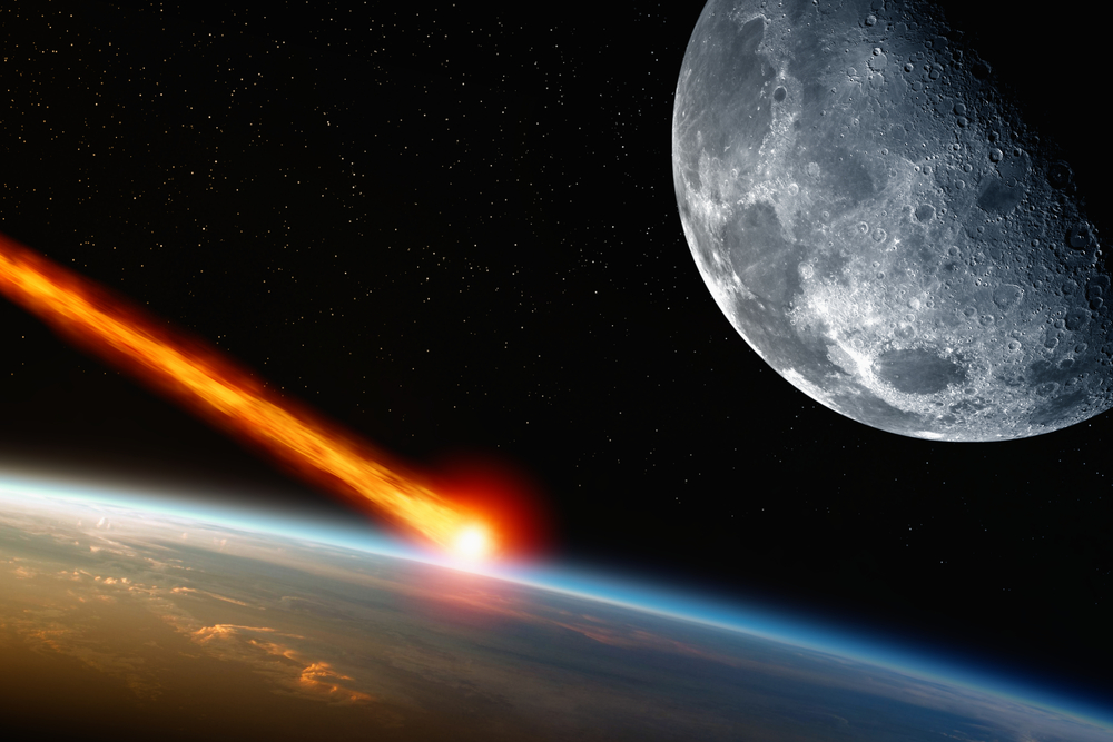 A meteorite, from outer space, shooting toward our planet