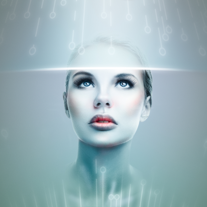 Abstract futuristic woman looking at data flow in a virtual display