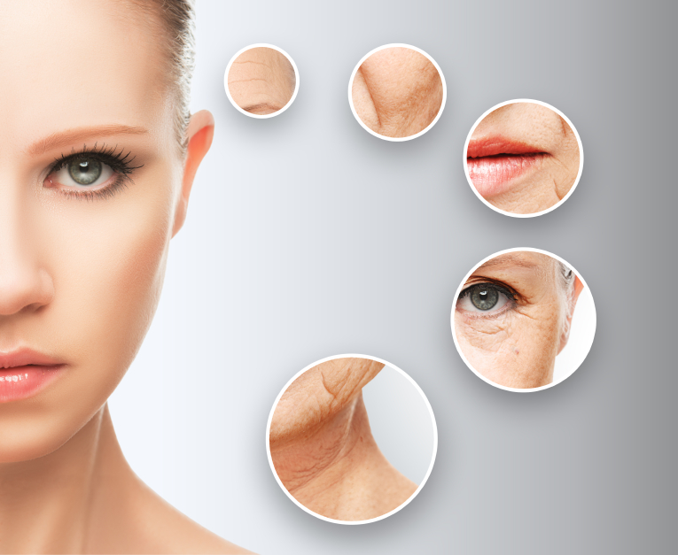 anti-aging concept skin aging. anti-aging procedures, rejuvenation, lifting, tightening of facial skin, restoration of youthful skin anti-wrinkle