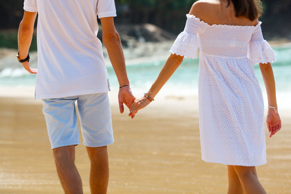 Holding hands on a romantic getaway