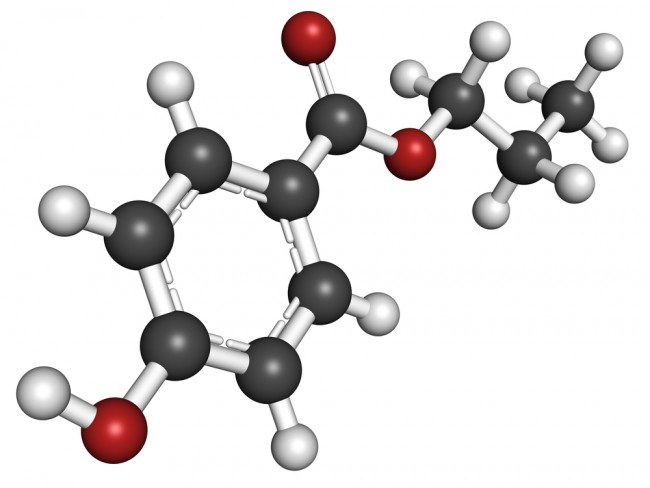 Chemical formula of parabens used in food and cosmetics.
