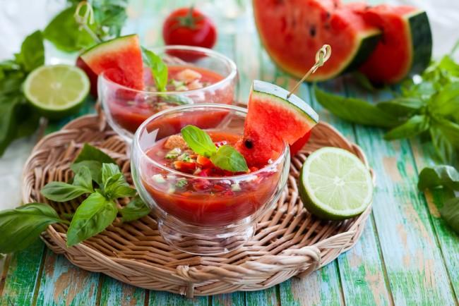 Watermelon tomato gazpachos