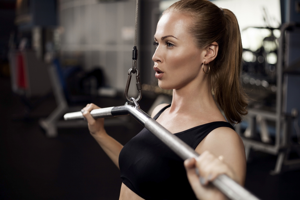 Woman working out in a gym