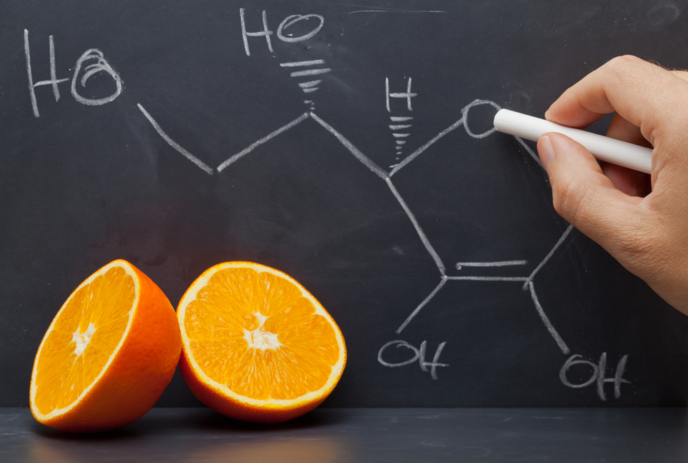 Vitamin C chemical formula on a blackboard
