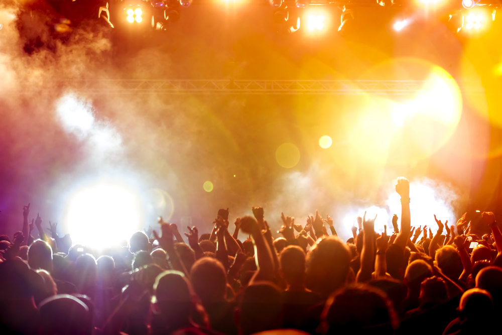 Silhouettes of a crowd in a concert.
