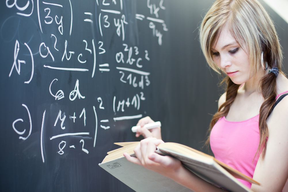 Woman doing math