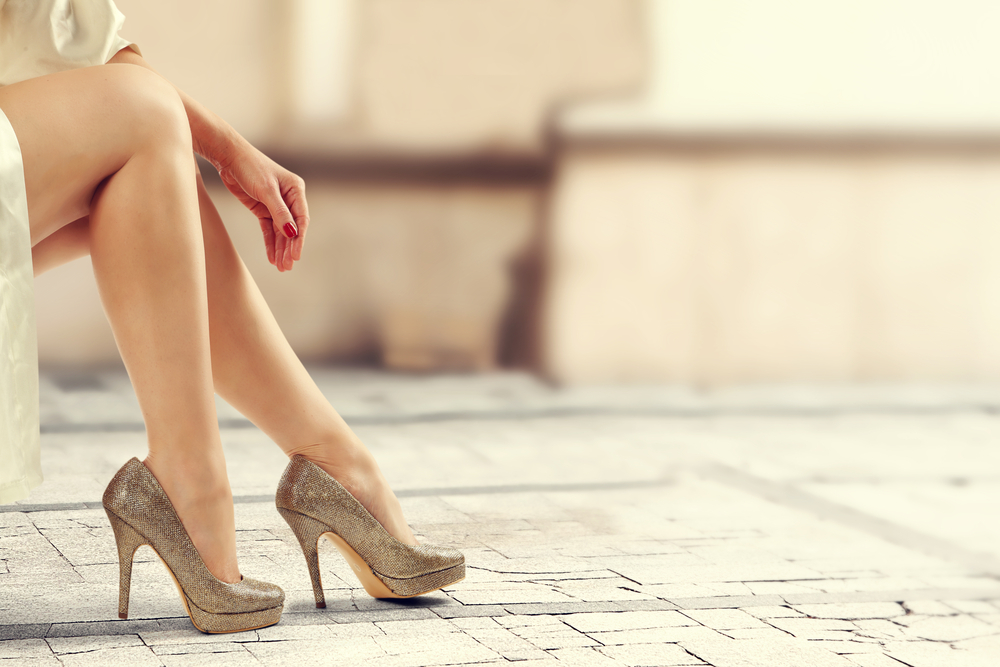 Woman wearing stilettos