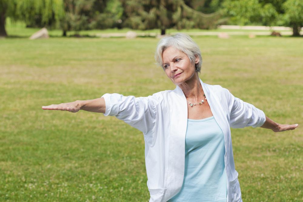 Woman doing balancing exercise