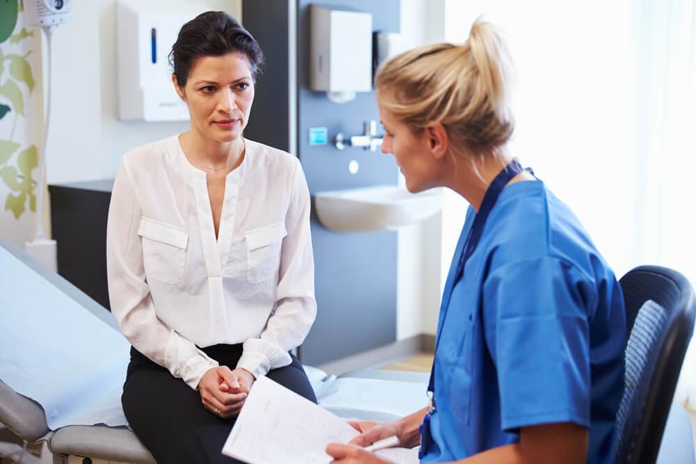 Female patient seeking doctor's consultation