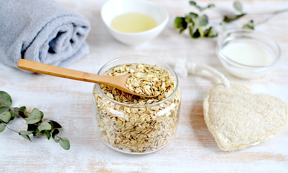 oats and grains to exfoliate skin