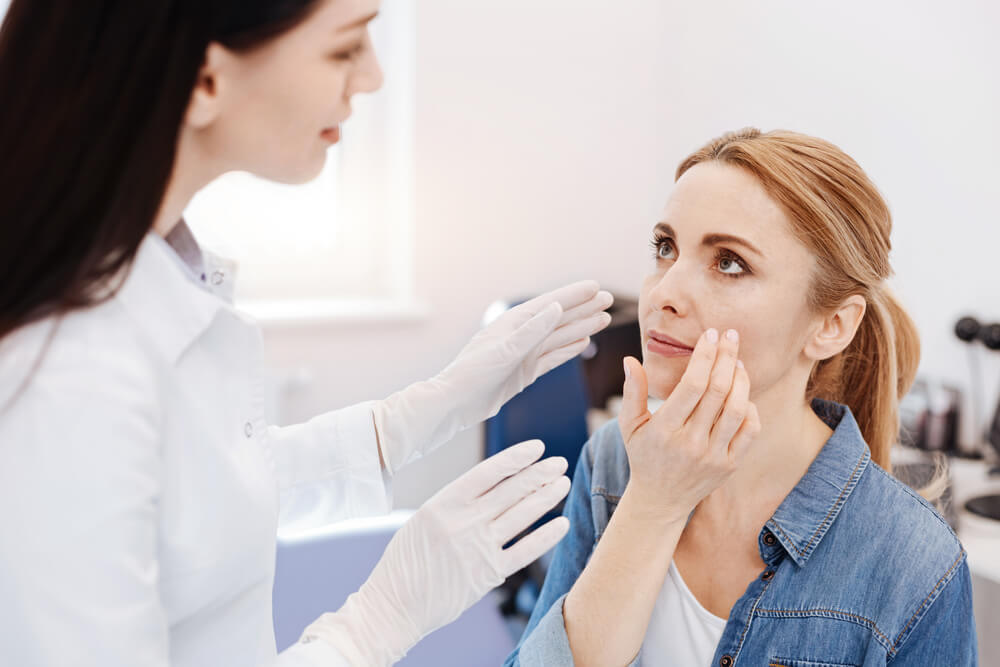 Woman having a consultation for plastic surgery